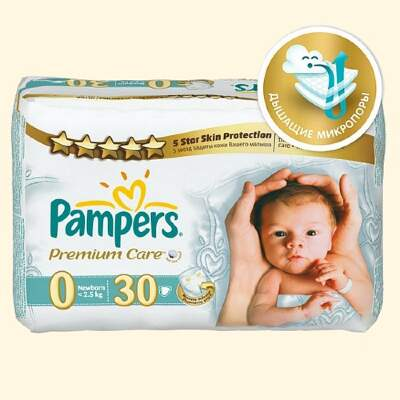Подгузники Pampers Premium Care 0 (1-2,5кг) 30 шт